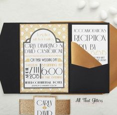 14 an art-deco pattern was paired with black pocketfolds, antique gold envelopes and gold glitter - Weddingomania