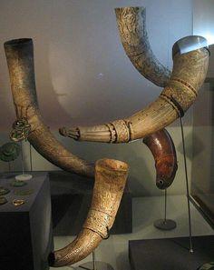 Viking era horns, Reykjavik museum Iceland