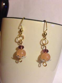 Peach Thistle Flower Beaded Earrings by JamesBrownCreations