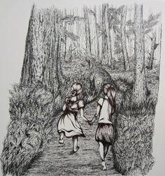 """Sisters""© Shayla Tansey, ink on paper Original Artwork, Sisters, Sketches, Ink, Paper, Drawings, Painting, Painting Art, Paintings"
