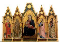 Puccio di Simone - Madonna dell'Umiltà con Bambino, San Lorenzo, Sant'Onofrio, San Giacomo maggiore e San Bartolommeo - 1346-1358 - Galleria dell'Accademia, Firenze