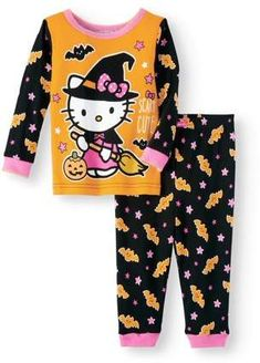Hello Kitty Halloween glow-in-the-dark cotton tight fit pajamas, set (baby girls), Size: 24 Months, Black Kids Halloween Pajamas, Halloween Outfits For Kids, Baby Boy Halloween, Minnie Mouse Halloween, Halloween Clothes, Cute Baby Girl Outfits, Kids Outfits Girls, Toddler Girl Outfits, Baby Girls