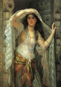 William Clarke Wontner. (British artist, 1857-1930) Safie, One of the Three Ladies of Baghdad 1900 - I have a reproduction of this in my living room...