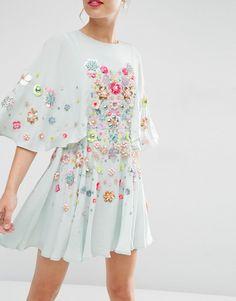 Image 3 ofASOS SALON 3D Floral Embellished Cape Mini Skater Dress