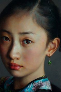 """Facial detail of """"The Child Song"""" -- by Zhao Kailin (b.1961, Bengbu, AnHui Province, Chinese)"""