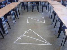 Daydreaming In Maths: area/perimeter/maskingtape Interesting idea! Math Strategies, Math Resources, Math Activities, Math Games, Teaching Geometry, Teaching Math, Teaching Ideas, Math Teacher, Math Classroom