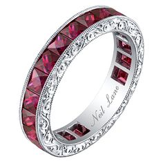 Neil Lane French-cut Ruby, Hand Engraved Platinum Band