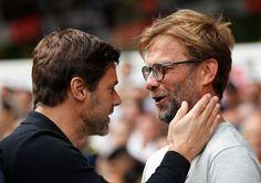 Tottenham manažér Mauricio Pochettino a Liverpool manažér Jürgen Klopp