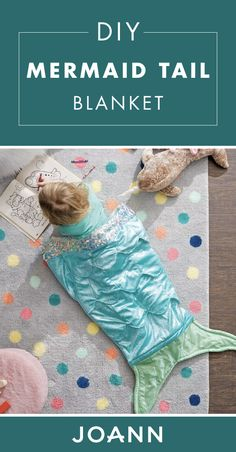 Your kids are sure to agree that sleepovers, reading time, and playing in your room are even more fun when you have this Mermaid Tail Blanket! Surprise your kid with this metallic dream for their birthday when you learn how to make it thanks to JOANN. Diy Mermaid Tail, Mermaid Tail Blanket, Sewing To Sell, Sewing For Kids, Baby Sewing Projects, Sewing Crafts, Diy Projects, Quilt Patterns, Sewing Patterns
