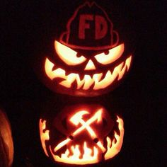 Fire Jack O Lantern Unique Pumpkin Carving Ideas, Firefighter Halloween, Pumkin Carving, Halloween Pumpkins, Halloween Ideas, Fall Fest, Trunk Or Treat, Pumpkin Decorating, Diy Crafts