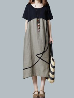 Hot-sale O-NEWE Vintage Loose O Neck Splicing Printed Dresses For Women - NewChic Mobile.