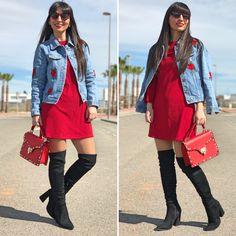 chaqueta bordada - Temporada: Primavera-Verano - Tags: look, ootd, fashion, moda, denim, red - Descripción: look tendencia con chaqueta de bordado floral #FashionOlé