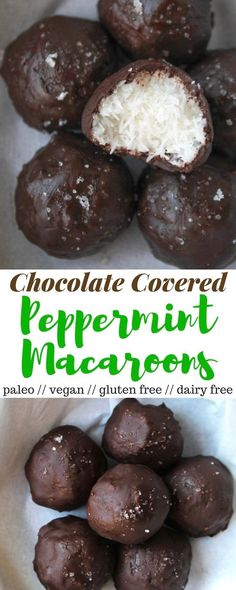 Chocolate Covered Peppermint Macaroons made from only 4 healthy ingredients that taste like a homemade peppermint patty. Vegan, paleo, gluten and dairy free! - Eat the Gains Dessert Sans Gluten, Paleo Dessert, Gluten Free Desserts, Easy Desserts, Dessert Recipes, Dessert Simple, Homemade Peppermint Patties, Desserts Sains, Paleo Sweets