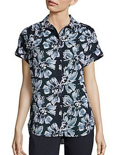 Lafayette 148 New York - Irina Cotton Floral-Print Blouse