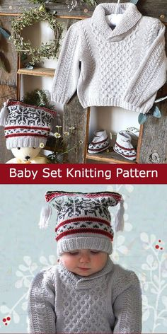 Knitting Pattern Baby Cable Sweater, Fair Isle Hat, and Booties This fabulous little baby pullover has a very simple honeycomb cable pattern on the front, matching boots and square hat with a nordic fair isle pattern. Size SIZE - Approx. age 6 to 9 months. Designed by OgeDesigns as Winter Wonderland Set. Worsted weight yarn. Sweater Knitting Patterns, Free Knitting, Toddler Sweater, Fair Isle Pattern, Cable Sweater, Free Baby Stuff, Baby Sweaters, Baby Patterns, Little Babies
