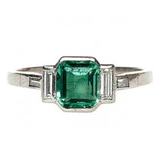 Art Deco Emerald and Diamond Ring- Trumpet Horn