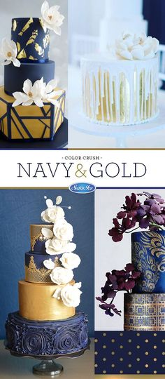 Satin Ice Color Crush: Navy & Gold   Cakes by Jessica Ting of Miss Shortcakes, Rebekah Naomi Cake Design, Jessica Minh Vu of Floral Cakes by Jessica MV & Jessica Wilson of Take a Bite Bahamas. See these cakes and more on satinice.com!