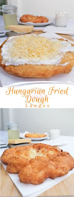 Hungarian Fried Dough - Lángos is a delicious street food, mostly eaten for breakfast. The Hungarian Fried Dough is crunchy on the outside, Croatian Recipes, Hungarian Recipes, Turkish Recipes, Hungarian Food, Scottish Recipes, Romanian Desserts, Romanian Food, German Desserts, Banana Dessert