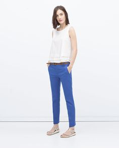 Image 1 of BELTED TROUSERS from Zara