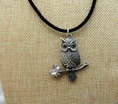 SALE: Large Silver Owl with rhinestones by HealingGemsJewelry