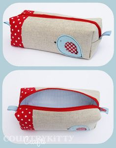 red and blue birdie box pouch by countrykitty, via Flickr