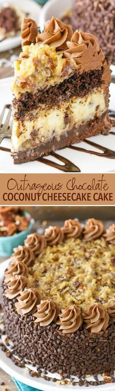 Outrageous Chocolate Coconut Cheesecake Cake - layers of chocolate cake, brownie, coconut chocolate chip cheesecake and coconut pecan filling!