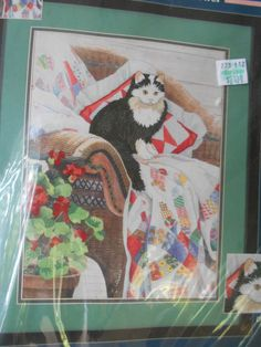 Whiskers Wedding Rings Cat Quilt  Crewel Embroidery Kit  12x16 Sunset Gallery  #SunsetGallery