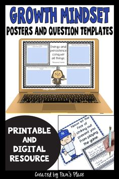 Display these growth mindset posters with quotes by successful people to show different perspectives and support student motivation to achieve. To have students think more deeply about the quotes use the printable or the digital question templates. Students can share their thinking about the quote during an in-person or a virtual discussion. These posters and question templates can provide inspiration and encourage a positive mindset for upper elementary and middle school students. #pamsplace Elementary Teaching, Student Teaching, Upper Elementary, Teaching Ideas, Growth Mindset Activities, Growth Mindset Posters, 5th Grade Classroom, Middle School Classroom, Reading Lessons