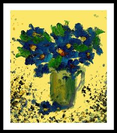 Blue Framed Print featuring the painting Blue Deco Flowers by Cuiava Laurentiu Poster Prints, Framed Prints, Canvas Prints, Art Prints, Frame Shop, Beautiful Paintings, Wood Print, Fine Art Photography, Blue Flowers