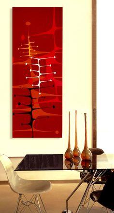 Mid Century modern retro modern tiki danish modern 4ft x 18in painting googie space age. $295.00, via Etsy.