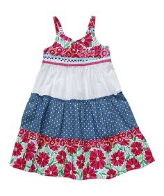 Take a look at this Sweet Heart Rose Fuchsia & Blue Floral Tiered Dress - Infant & Girls on zulily today! Little Girl Outfits, Kids Outfits, Cute Dresses, Girls Dresses, Infant Girls, Infant Toddler, Toddler Girls, Little Fashion, Tiered Dress