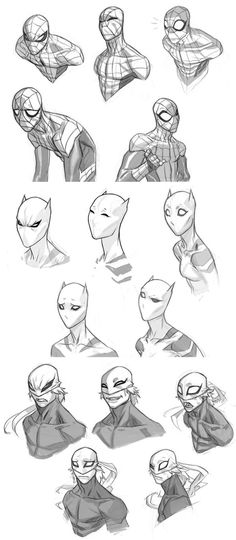 Ultimate Spider-man expression sheets by jeffwamester ---Superhero top half and face structure