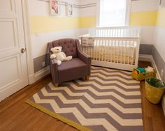 Decorating: Chocolate Couch And Grey Chevron Rug In Baby Room, modern rug style, chevron rug for minimalist room decor ~ DropdDesign