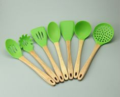 7 Pieces Set Wood Handle Silicone Cooking Tool Set Hot Resistance Environment Protection Kitchen Tools Set Free Shipping