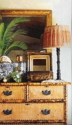faux bamboo, chest and accessories in british west indies style