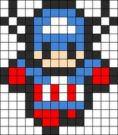 I am totally making all of the avengers in perler beads. Melty Bead Patterns, Kandi Patterns, Pearler Bead Patterns, Perler Patterns, Beading Patterns, Perler Beads, Perler Bead Art, Fuse Beads, Pixel Art