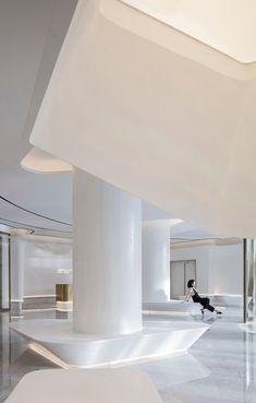 Gallery of Aiyue Postpartum Care Center / BDD DESIGN - 5 Office Interior Design, Office Interiors, Office Lobby, Sales Office, Nendo Design, Postpartum Care, Three Floor, Atrium, Design Inspiration