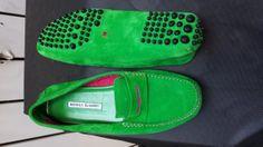 Manolo Blahnik Green/Pink Suede Drivers 9US