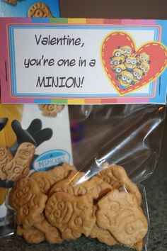 GOT MINIONS?  Adorable Minion Valentine bag topper!  Fill with the new Honey Maid Minion cookies:)  $2.00
