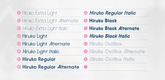 Hiruko font family by Thinkdust, comprising of 15 rounded sans-serif weights.