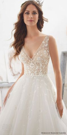 morilee spring 2017 bridal sleeveless v neck heavily embellished bodice tulle skirt romantic a line wedding dress open v back chapel train (5515) zv -- Morilee by Madeline Gardner Spring 2017 Wedding Dresses