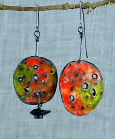Bongo Earrings - Polymer clay with faux enamel. Christine Damm