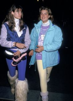 1988: Model Carol Alt and actress Brooke Shields at Mont-Sainte-Anne in Beaupre, Quebec, Canada.