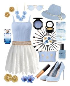 """Golden Blue"" by caroline-huxsol ❤ liked on Polyvore featuring Chicwish, Cocobelle, Miu Miu, J.Crew, Garrett Leight, Elie Saab, Lauren B. Beauty, MAC Cosmetics, Bare Escentuals and Laura Mercier"