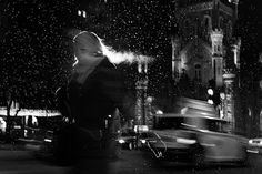 This winter Chicago-based photographer Satoki Nagata produced a series of abstract, black and white street portraits of people caught in the frigid elements. Nagata says that he lights his figures from behind with a flash using a slow shutter speed and doesn't rely on double exposures or glass reflections as it may appear. The results are some pretty striking photographs of people that look nearly transparent yet appear to be almost perfectly surrounded by a crisp halo of light.