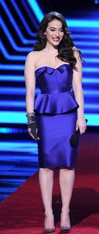 Kat Dennings Purple Peplum Dress at the People's Choice Awards