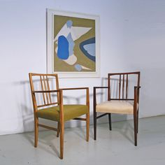 Gordon Russell of Broadway dining chairs and Raymond Coxon oil on canvas. www.midcenturyhome.co.uk