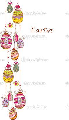 Doodle decorative colorful eggs line for Easter. — Imagen vectorial #31999455