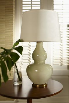 Pale Celadon Gourd Table Lamp <3