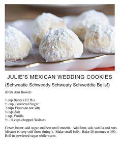 Holiday Cookies, Holiday Treats, Yummy Cookies, Yummy Treats, Mexican Food Recipes, Cookie Recipes, Mexican Wedding Cookies, Corned Beef Recipes, Walnut Cookies